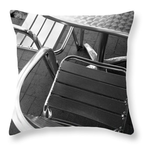 Abstract Throw Pillow featuring the photograph Chair And Table by Joe Kozlowski