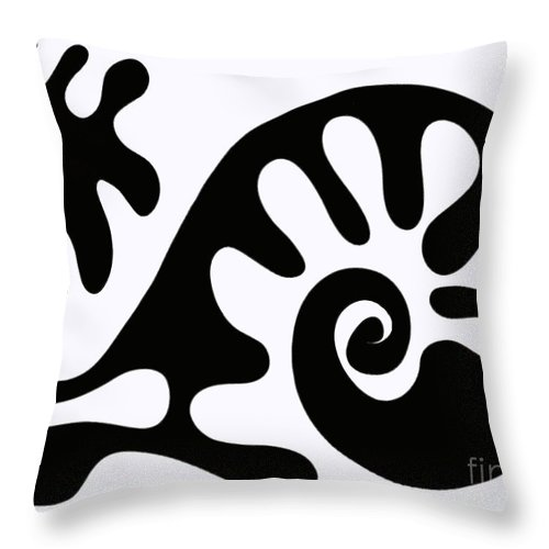 Chair Design In Black Whale Snail Fish Walking Amoeba Swirl Curl Matisse Style Cut Out Designs Throw Pillow featuring the painting Chair Design In Black. 2013 by Cathy Peterson