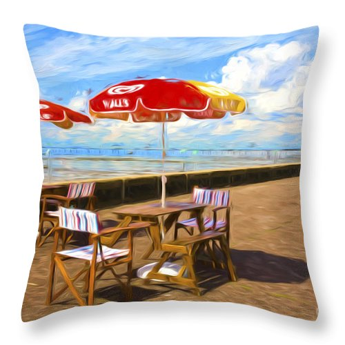 Southend On Sea Throw Pillow featuring the photograph Chairs and umbrellas at Southend on Sea by Sheila Smart Fine Art Photography
