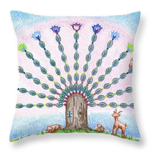 Seven Chakras Throw Pillow featuring the drawing Chakra Tree by Keiko Katsuta