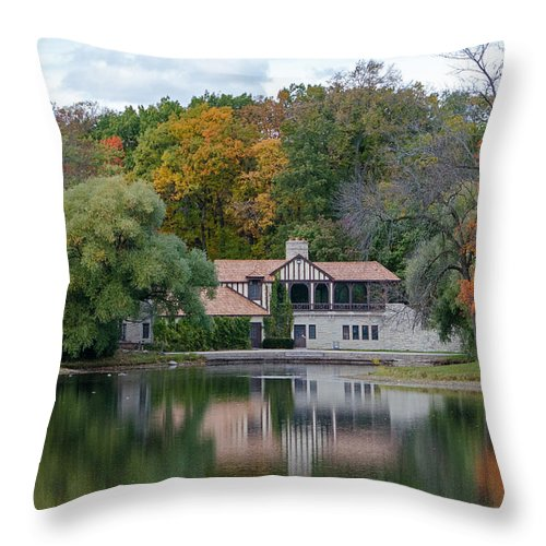 Chalet Throw Pillow featuring the photograph Chalet On The Lagoon by Susan McMenamin