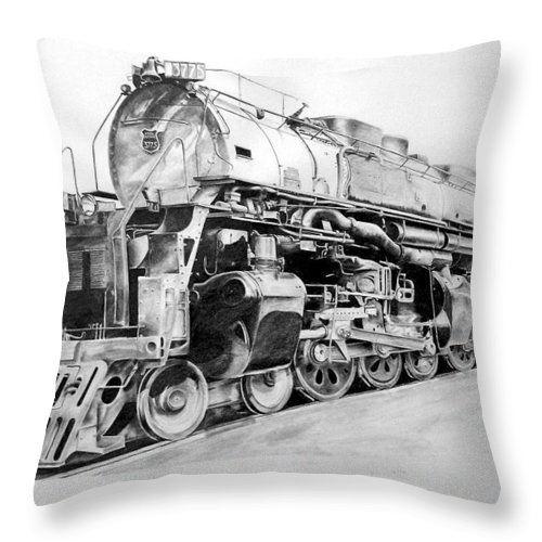 Steam Locomotive Throw Pillow featuring the drawing Challenger by Glen Frear