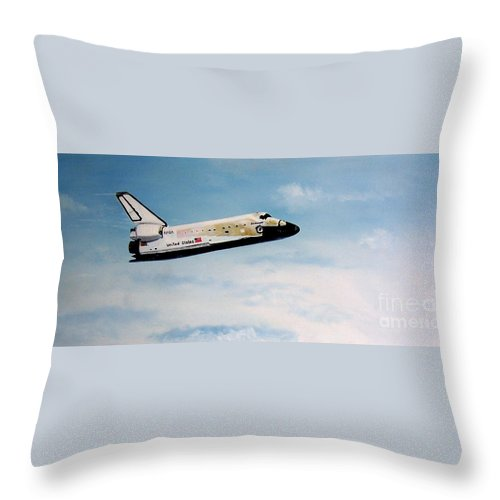 Shuttle Throw Pillow featuring the painting Challenger by Murphy Elliott