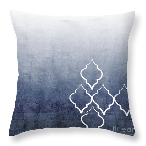 Abstract Throw Pillow featuring the mixed media Chambray Ombre by Linda Woods