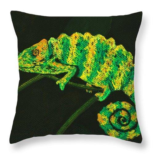 Fantasy Throw Pillow featuring the pastel Chameleon by Anastasiya Malakhova