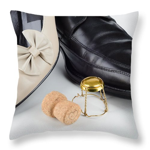 Beautiful Throw Pillow featuring the photograph Champagne And Shoes For Saint Valentine by Alain De Maximy