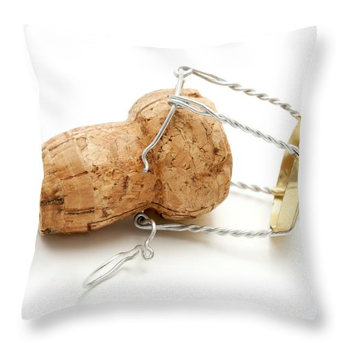 White Background Throw Pillow featuring the photograph Champagne Cork Stopper by Fabrizio Troiani