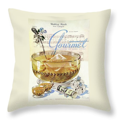 Illustration Throw Pillow featuring the photograph Champagne Punch And The Wedding March by Henry Stahlhut