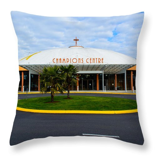 Champions Centre Church Throw Pillow featuring the photograph Champions Center by Tikvah's Hope
