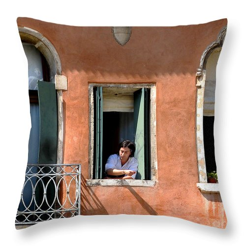 Venice Throw Pillow featuring the photograph Chance Meeting In Venice by Jennie Breeze