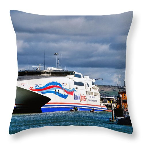 Weymouth Throw Pillow featuring the photograph Channel Islands Ferry by Susie Peek