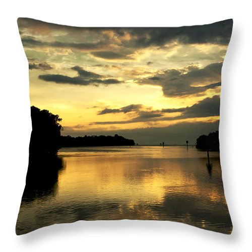 Sunset Throw Pillow featuring the photograph Channel To The Sunset by Norman Johnson