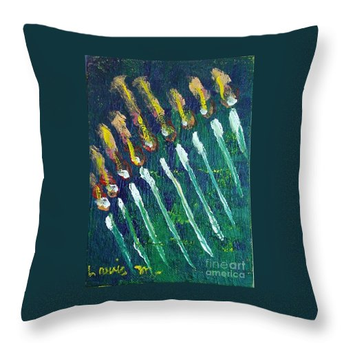 Chanukah Throw Pillow featuring the painting Chanukiah In The Dark by Laurie Morgan