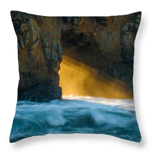 Chaos Throw Pillow featuring the photograph Chaos - Pfeiffer Beach by George Buxbaum