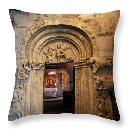 Chapel Throw Pillow featuring the photograph Chapel Entrance by Christiane Schulze Art And Photography