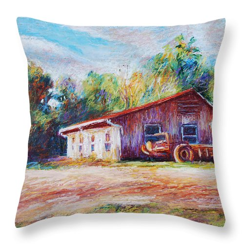 Barn Throw Pillow featuring the painting Chapel Hill Creamery Barn by Bethany Bryant