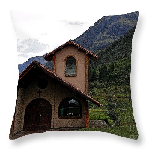 Chapel Throw Pillow featuring the photograph Chapel In The Cajas by Al Bourassa
