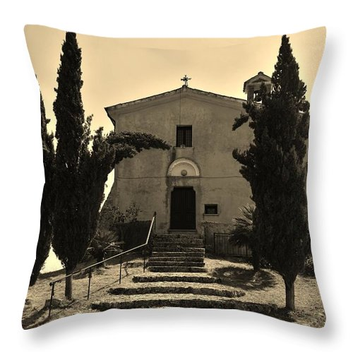 Chapel Throw Pillow featuring the photograph Chapel Of San Amasio by Dany Lison