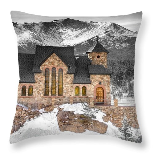 Chapel On The Rock Throw Pillow featuring the photograph Chapel On The Rock Bwsc by James BO Insogna