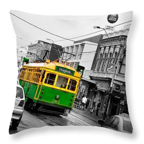 Australia Throw Pillow featuring the photograph Chapel St Tram by Az Jackson
