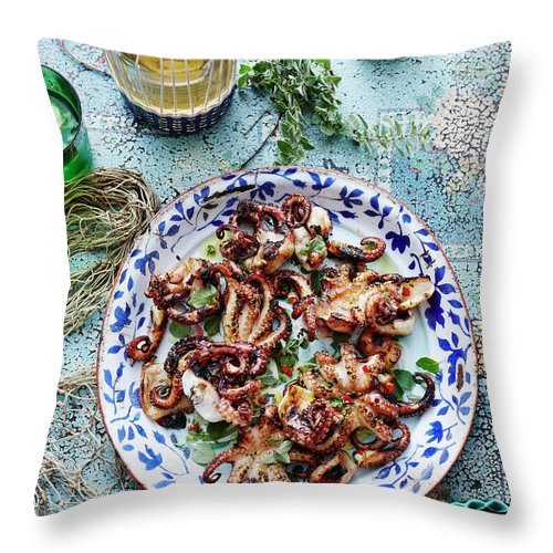 Temptation Throw Pillow featuring the photograph Chargrilled Lemon Oregano Octopus by Brett Stevens
