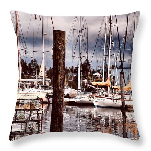 Charleston Oregon Throw Pillow featuring the photograph Charleston Marina At The End Of The Day by Sally Bauer