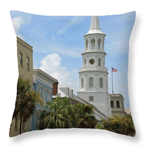 Black And White Throw Pillow featuring the photograph Charleston Series Vi by Suzanne Gaff