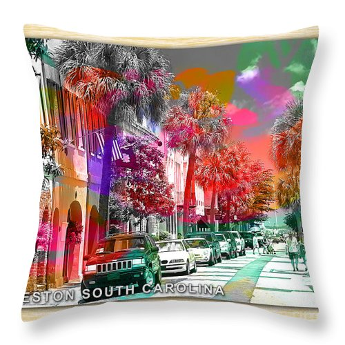 Charleston South Carolina Skyline Painting Throw Pillow featuring the mixed media Charleston South Carolina Skyline by Marvin Blaine