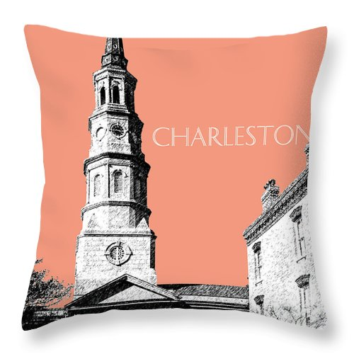 Architecture Throw Pillow featuring the digital art Charleston St. Phillips Church - Salmon    by DB Artist