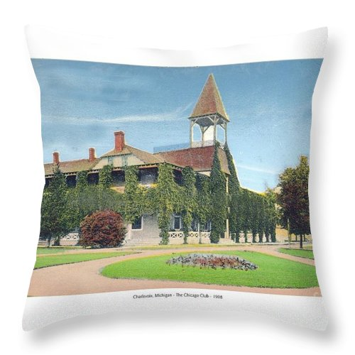 1905 Throw Pillow featuring the digital art Charlevoix Michigan - The Chicago Club - 1908 by John Madison