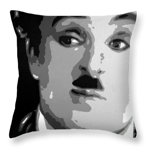 Charlie Throw Pillow featuring the painting Charlie Chaplin by Hussein El Kaissy