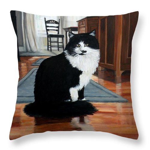Cat Throw Pillow featuring the painting Charlie by Eileen Patten Oliver