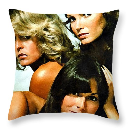 Charlies Angels Paintings Throw Pillow featuring the mixed media Charlies Angels Painting by Marvin Blaine