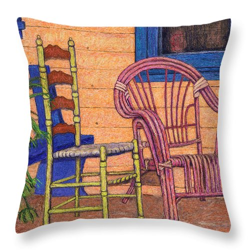 Painting Throw Pillow featuring the digital art Charlies Porch by Sandra Selle Rodriguez