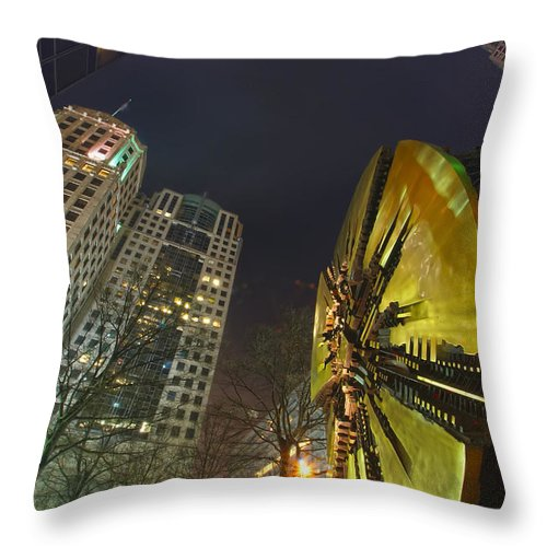 District Throw Pillow featuring the photograph Charlotte Downtown At Night by Alex Grichenko