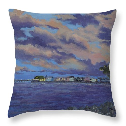 Sailing Throw Pillow featuring the painting Charlotte Harbor Sunset by Kathy Przepadlo