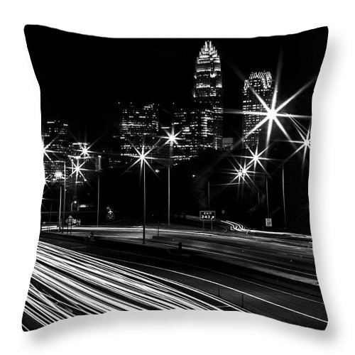 Charlotte Throw Pillow featuring the photograph Charlotte Flow B/w by Chris Austin