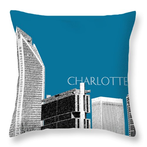 Architecture Throw Pillow featuring the digital art Charlotte Skyline 1 - Steel by DB Artist