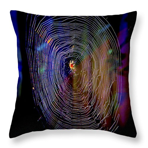 Spider Throw Pillow featuring the photograph Charlotte's Rainbow by Her Arts Desire