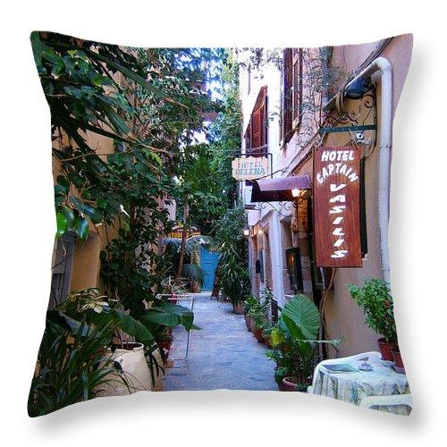 Greek Islands Crete Chania Hania Picturesque Street Scene Al Fresco Throw Pillow featuring the photograph Charming Chania by Brenda Salamone