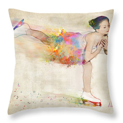 Ice Skater Throw Pillow featuring the digital art Chase Your Dreams by Nikki Smith