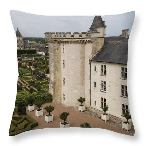 Palace Throw Pillow featuring the photograph Chateau And Garden - Villandry by Christiane Schulze Art And Photography