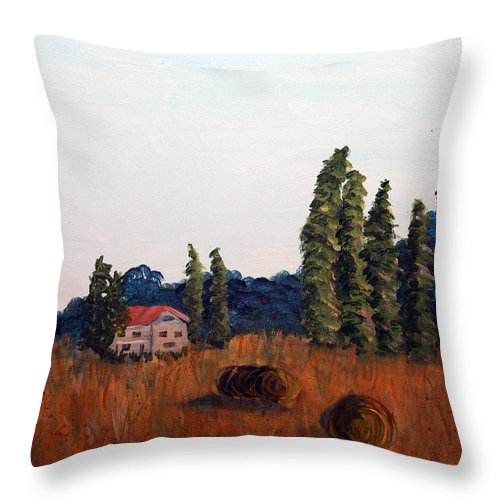 Landscape Throw Pillow featuring the painting Chateau D'eauville by Maura Satchell