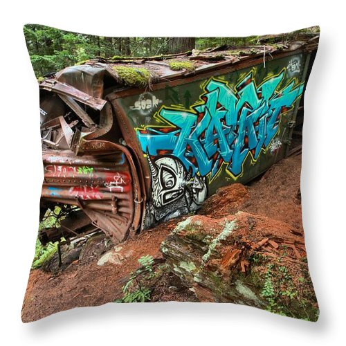 Old Train Throw Pillow featuring the photograph Cheakamus River Train Derailment by Adam Jewell