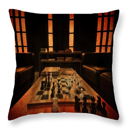 Spassky Throw Pillow featuring the photograph Checkmate by Evelina Kremsdorf