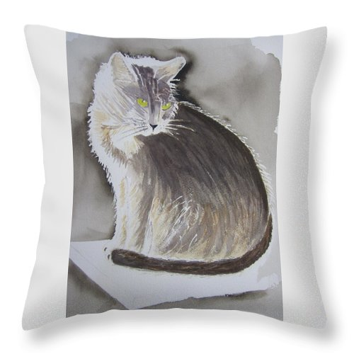 Abyssinian Cat Throw Pillow featuring the painting Cheeky Cat by Elvira Ingram