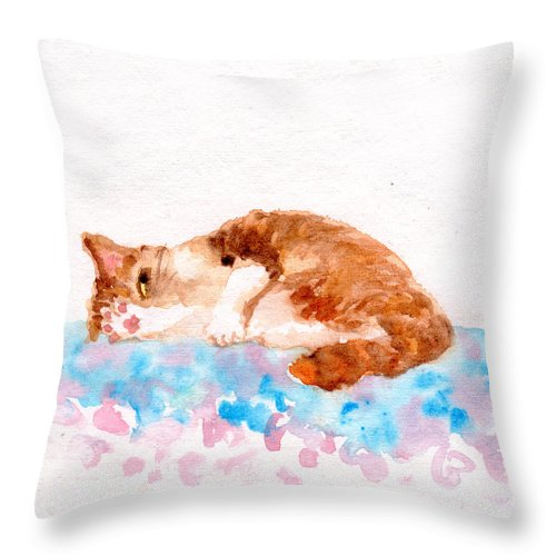 Cheeky Throw Pillow featuring the painting Cheeky Cat by Yumi Kudo