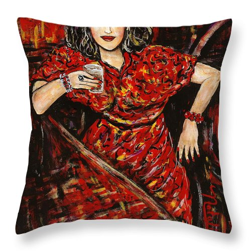 Woman Throw Pillow featuring the painting Cheers by Natalie Holland
