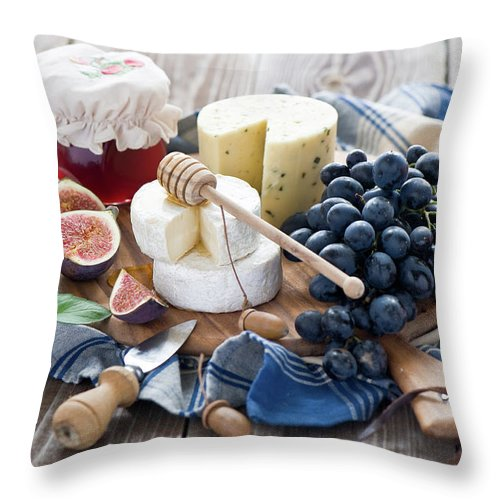 Plum Throw Pillow featuring the photograph Cheese Board by Verdina Anna