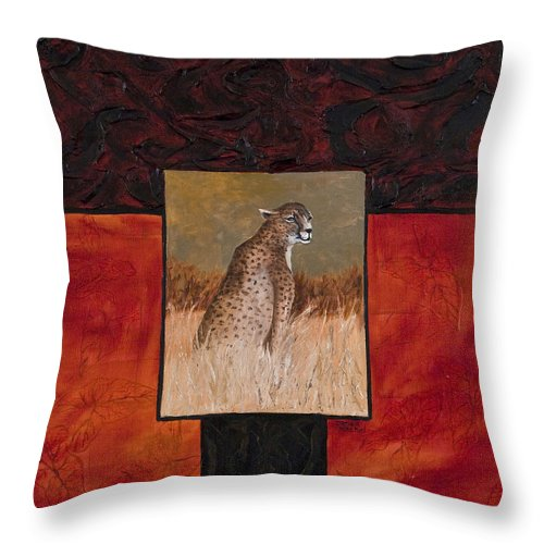 Animal Throw Pillow featuring the painting Cheetah by Darice Machel McGuire